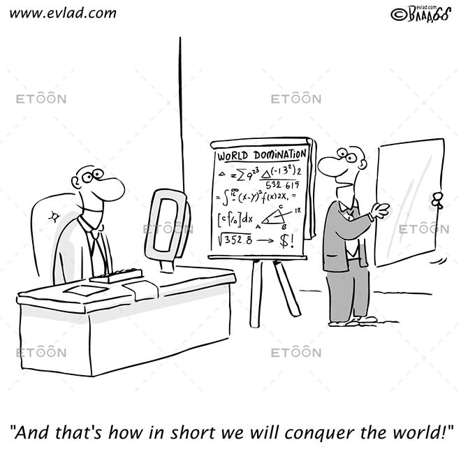 Man delivering presentation to another man...: eToon cartoon for newsletters, presentations, websites, books and more
