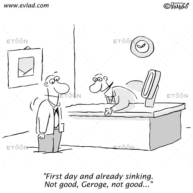 Two men one of who is sinking into the floor...: eToon cartoon for newsletters, presentations, websites, books and more