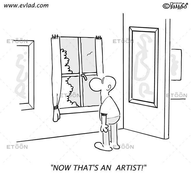 Man looking through a window...: eToon cartoon for newsletters, presentations, websites, books and more