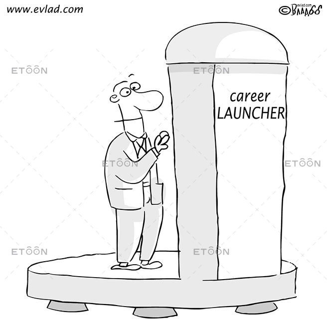 Man about to put a quarter into a machines slot...: eToon cartoon for newsletters, presentations, websites, books and more