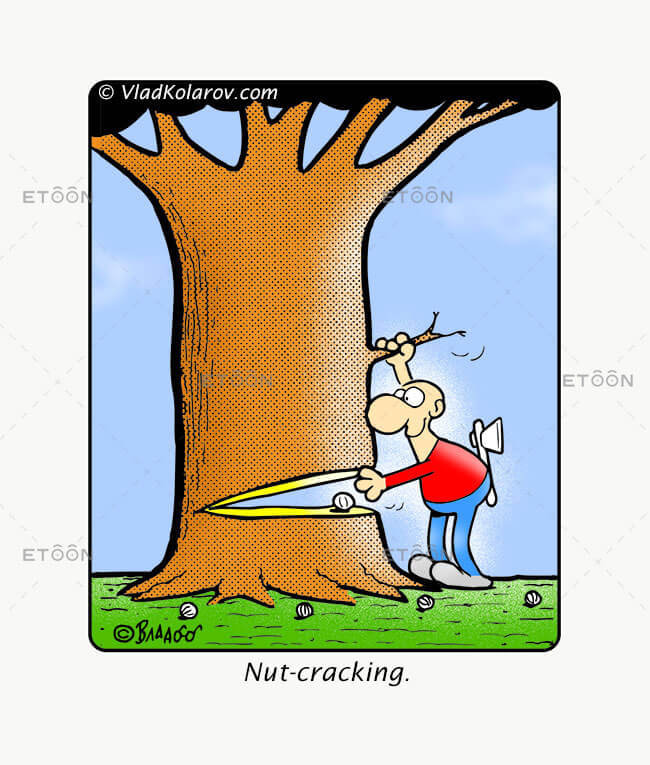 Nut cracking: eToon cartoon for newsletters, presentations, websites, books and more