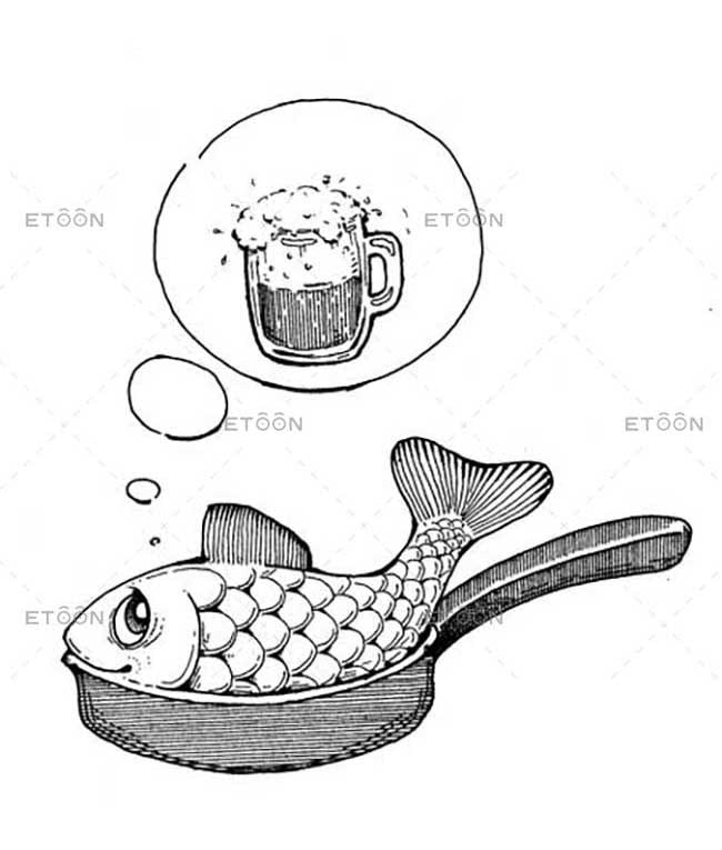 Fish and beer: eToon cartoon for newsletters, presentations, websites, books and more